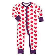 Buy Polarn O. Pyret Baby Heart Print Sleepsuit, Ski Patrol Online at johnlewis.com