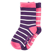Buy Polarn O. Pyret Baby Striped Socks, Pack of 2, Grape Royale Online at johnlewis.com