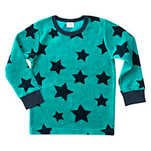 Buy Polarn O. Pyret Children's Velour Star Top, Quetzal Green Online at johnlewis.com