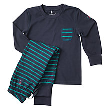 Buy Polarn O. Pyret Boys' Striped Pyjamas, Dark Sapphire Online at johnlewis.com
