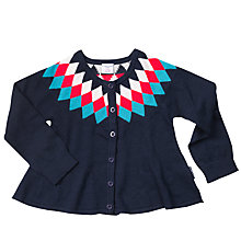 Buy Polarn O. Pyret Girls' Diamond Patterned Cardigan, Dark Sapphire Online at johnlewis.com