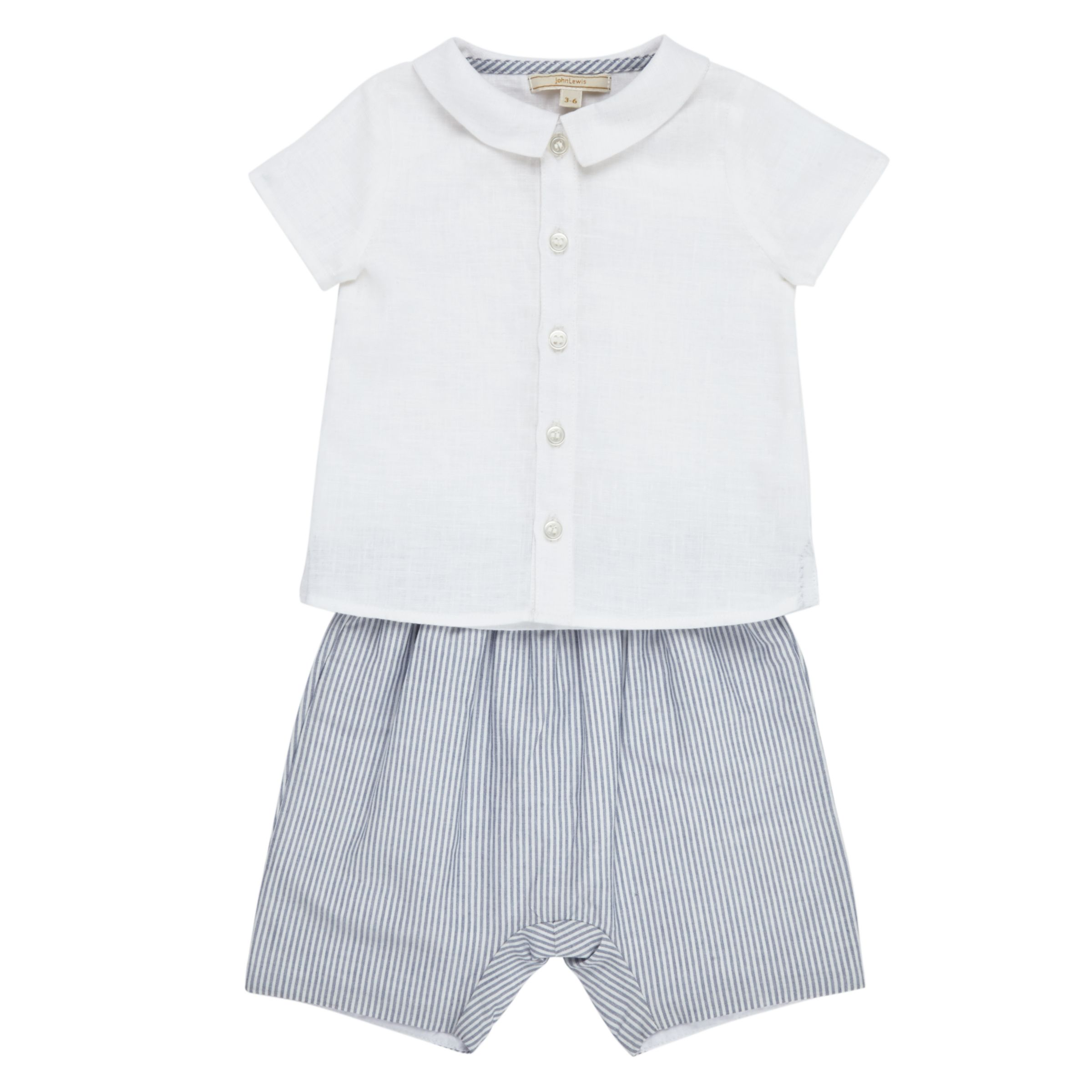 John Lewis Heirloom Collection John Lewis Heirloom Collection Baby Shirt and Shorts Set, Grey/White