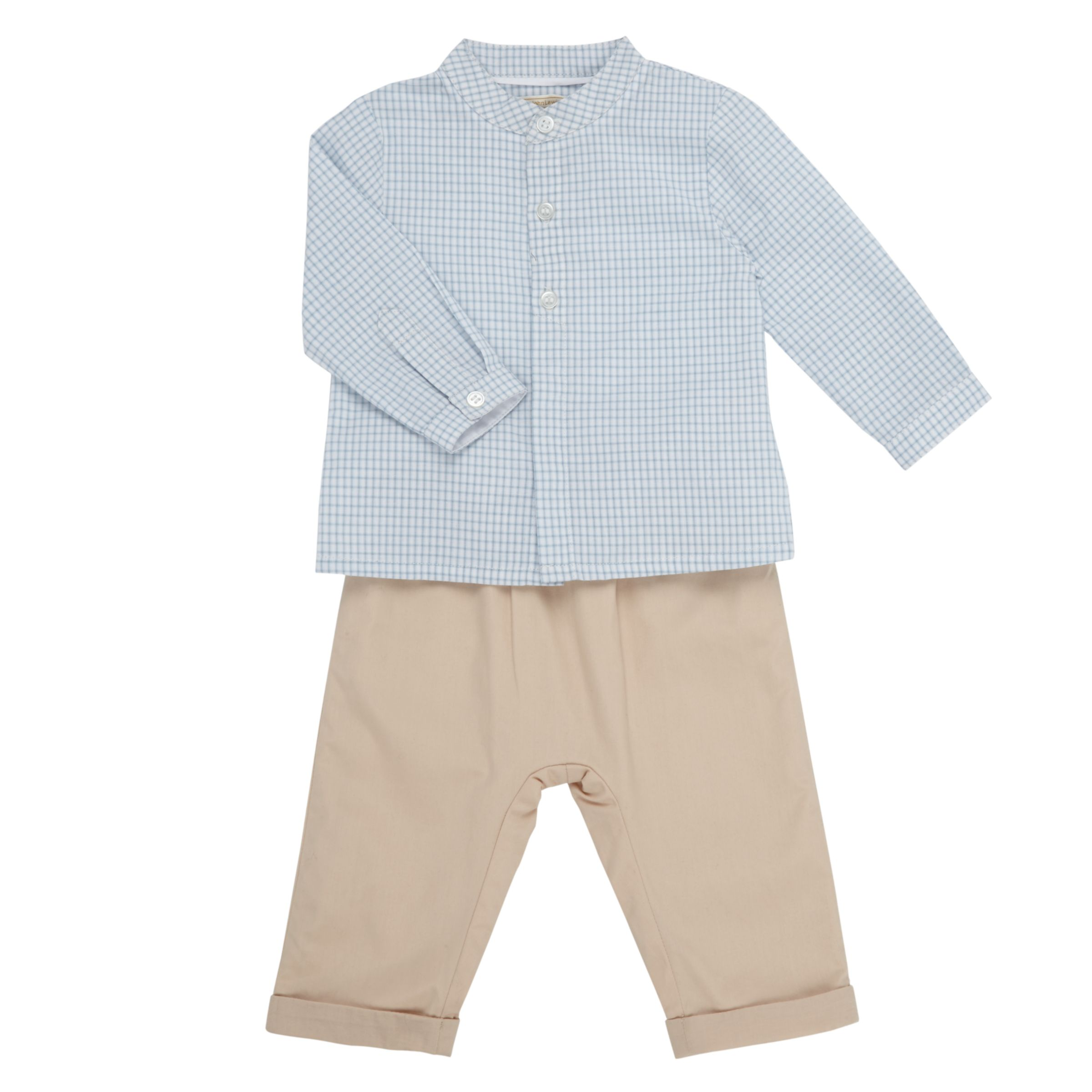 John Lewis Heirloom Collection John Lewis Heirloom Collection Baby Gingham Shirt and Trousers Set, Grey/White