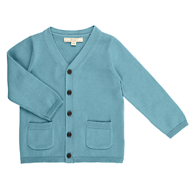John Lewis Heirloom Collection Baby Knit Cardigan, Cameo Blue