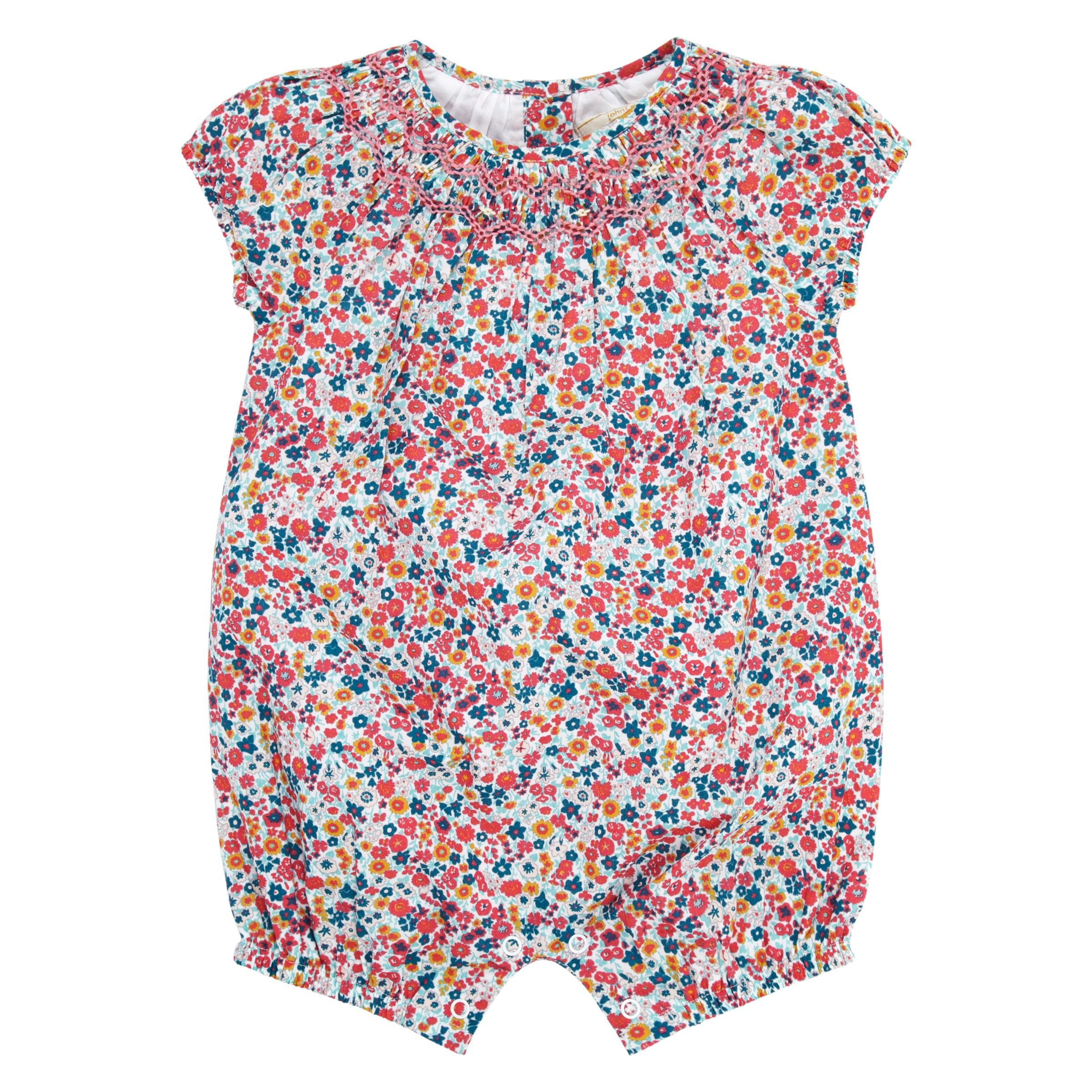 John Lewis Heirloom Collection John Lewis Heirloom Collection Baby Ditsy Romper, Pink/Multi
