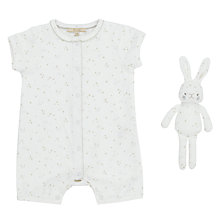 Buy John Lewis Heirloom Collection Baby Printed Romper with Toy, White Online at johnlewis.com
