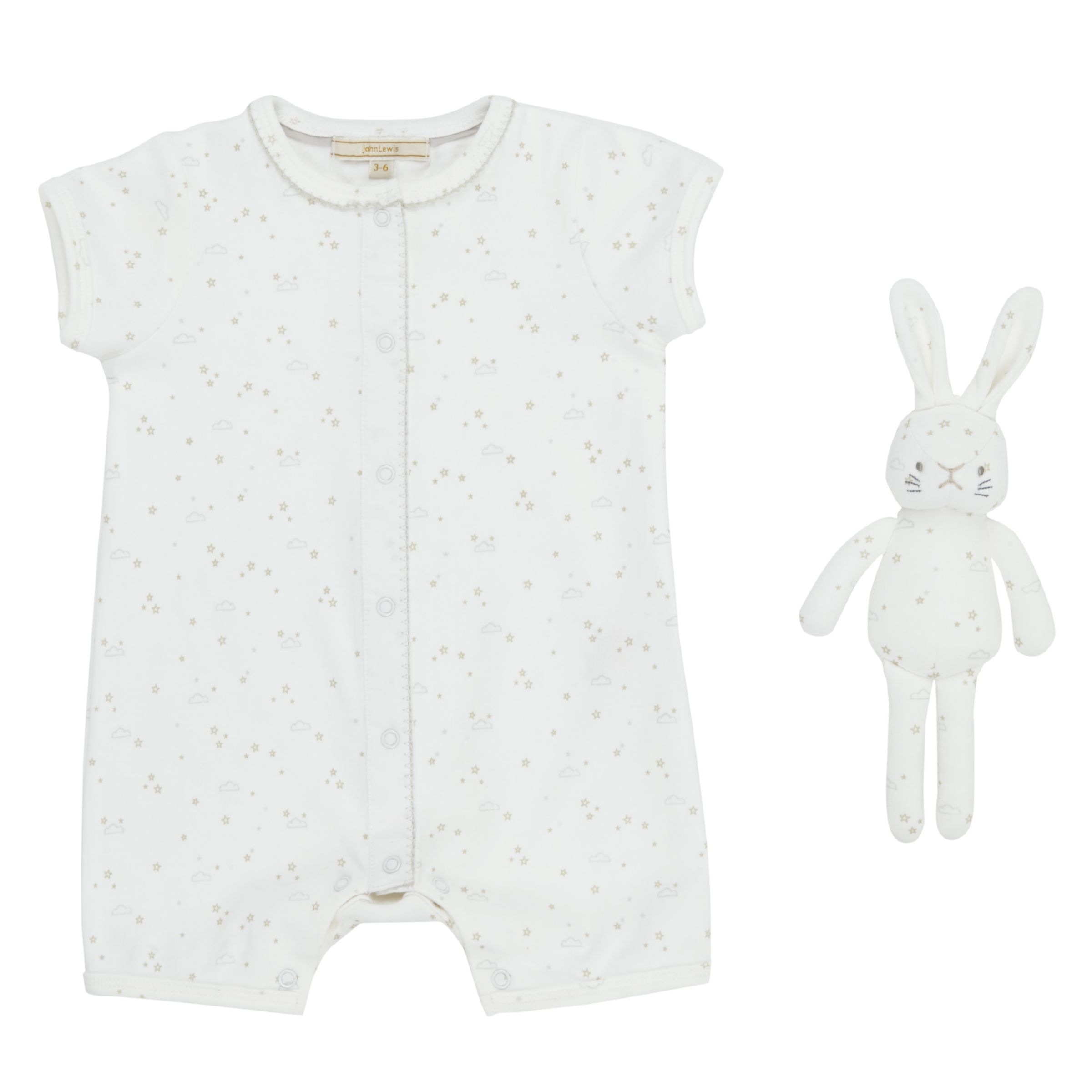 John Lewis Heirloom Collection John Lewis Heirloom Collection Baby Printed Romper with Toy, White