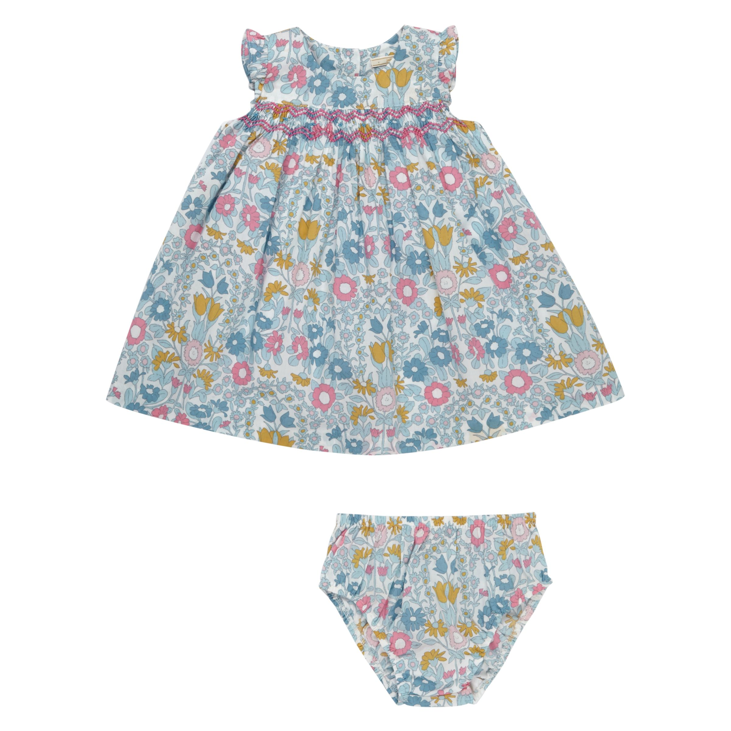 John Lewis Heirloom Collection John Lewis Heirloom Collection Baby Smock Cotton Dress and Knickers Set, Green/Multi