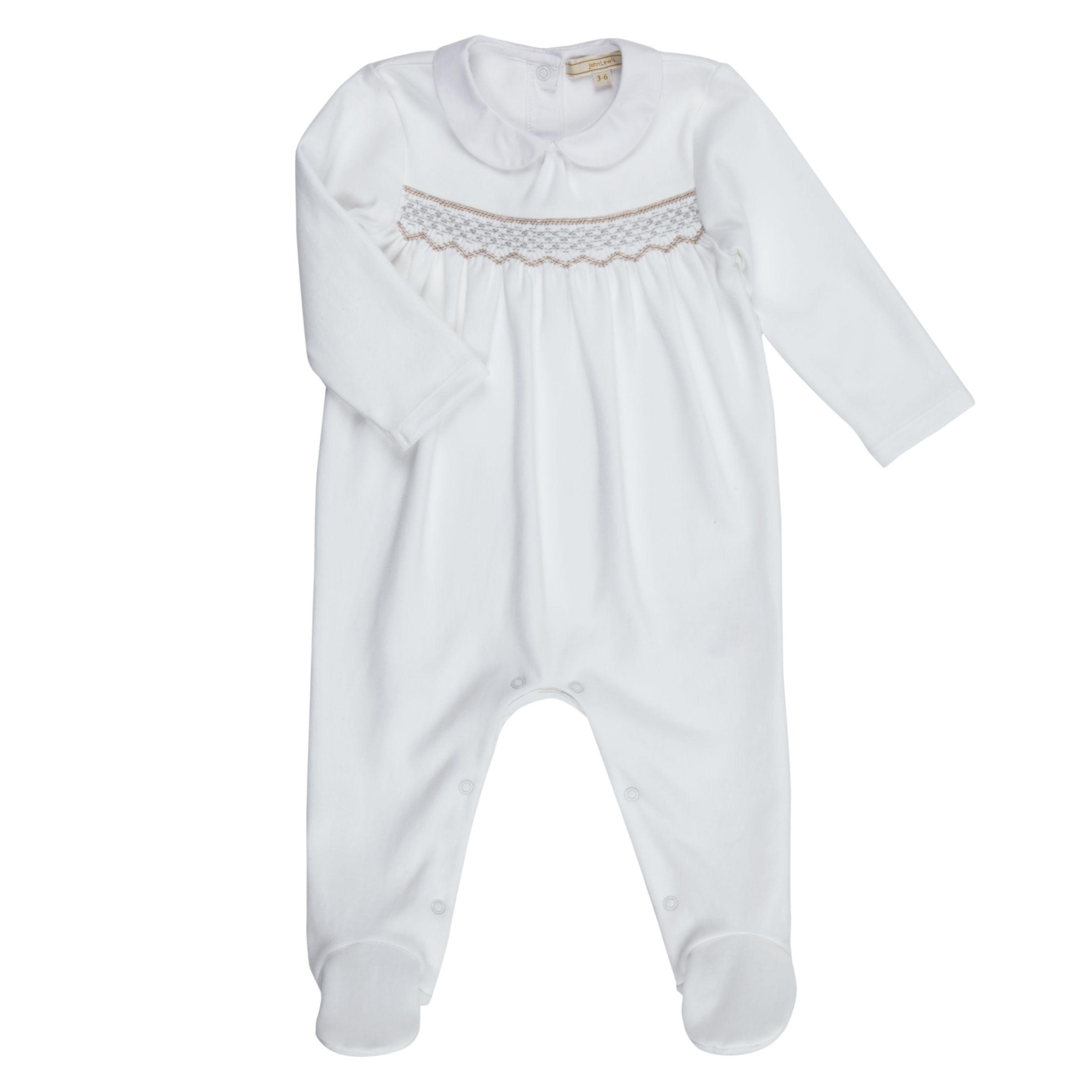 John Lewis Heirloom Collection John Lewis Heirloom Collection Baby Smock Sleepsuit, White