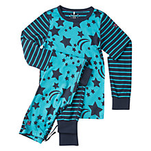 Buy Polarn O. Pyret Children's Star Motif Pyjamas, Dark Sapphire Online at johnlewis.com