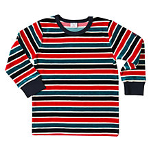 Buy Polarn O. Pyret Boys' Striped Velour Top, Dark Sapphire Online at johnlewis.com