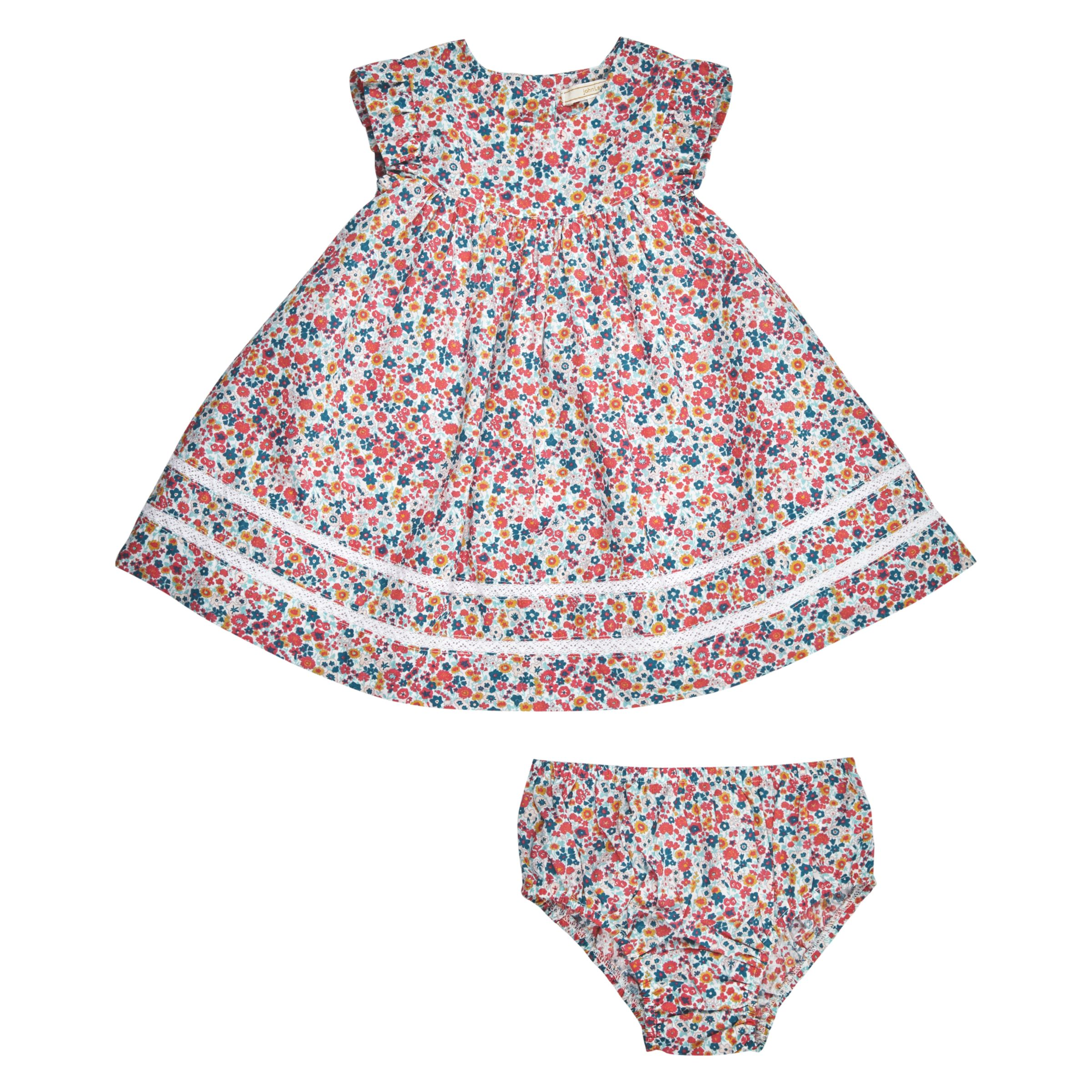 John Lewis Heirloom Collection John Lewis Heirloom Collection Baby Ditsy Dress and Knickers Set, Pink/Multi