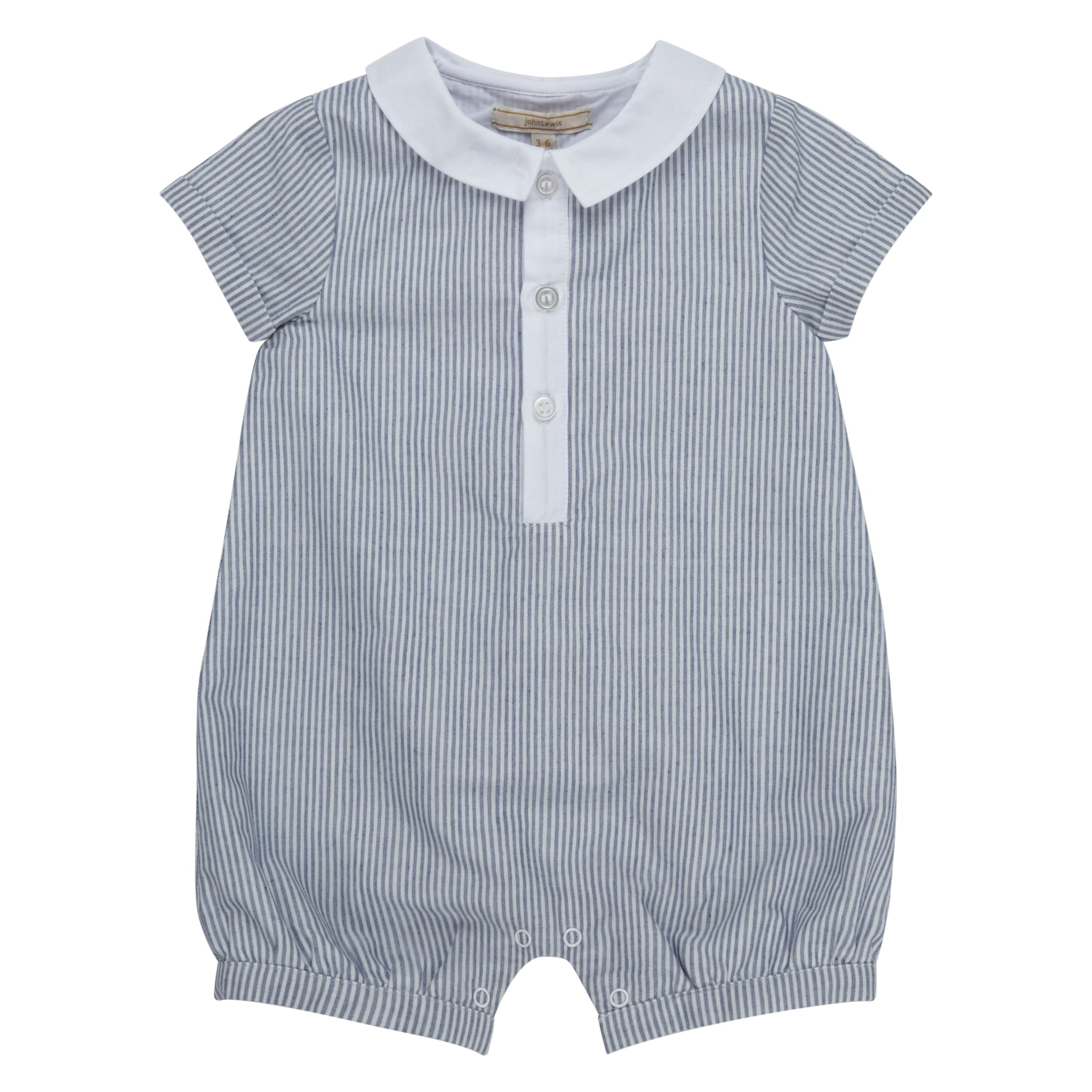 John Lewis Heirloom Collection John Lewis Heirloom Collection Baby Striped Romper, Grey/White