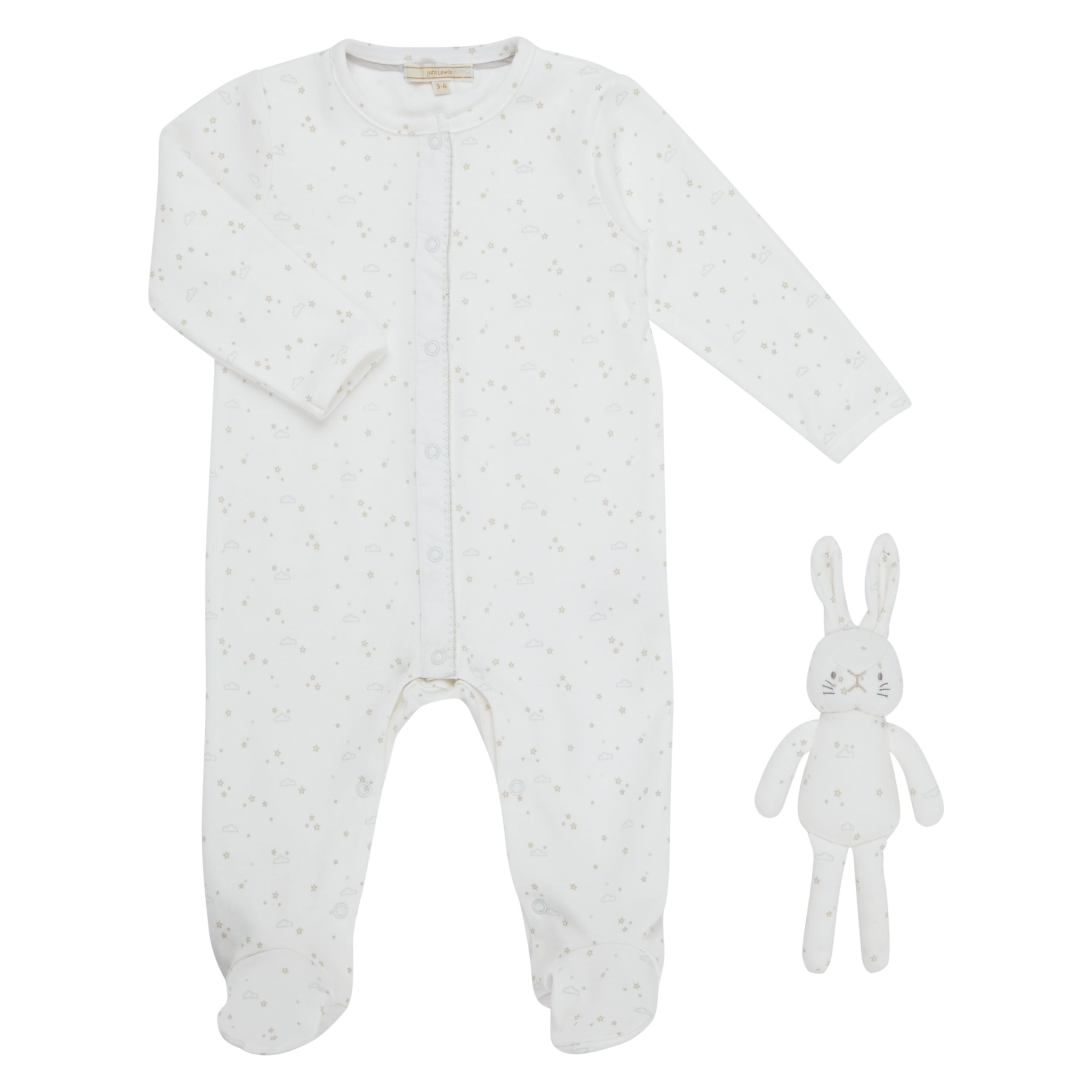 John Lewis Heirloom Collection John Lewis Heirloom Collection Baby Printed Sleepsuit with Toy, White