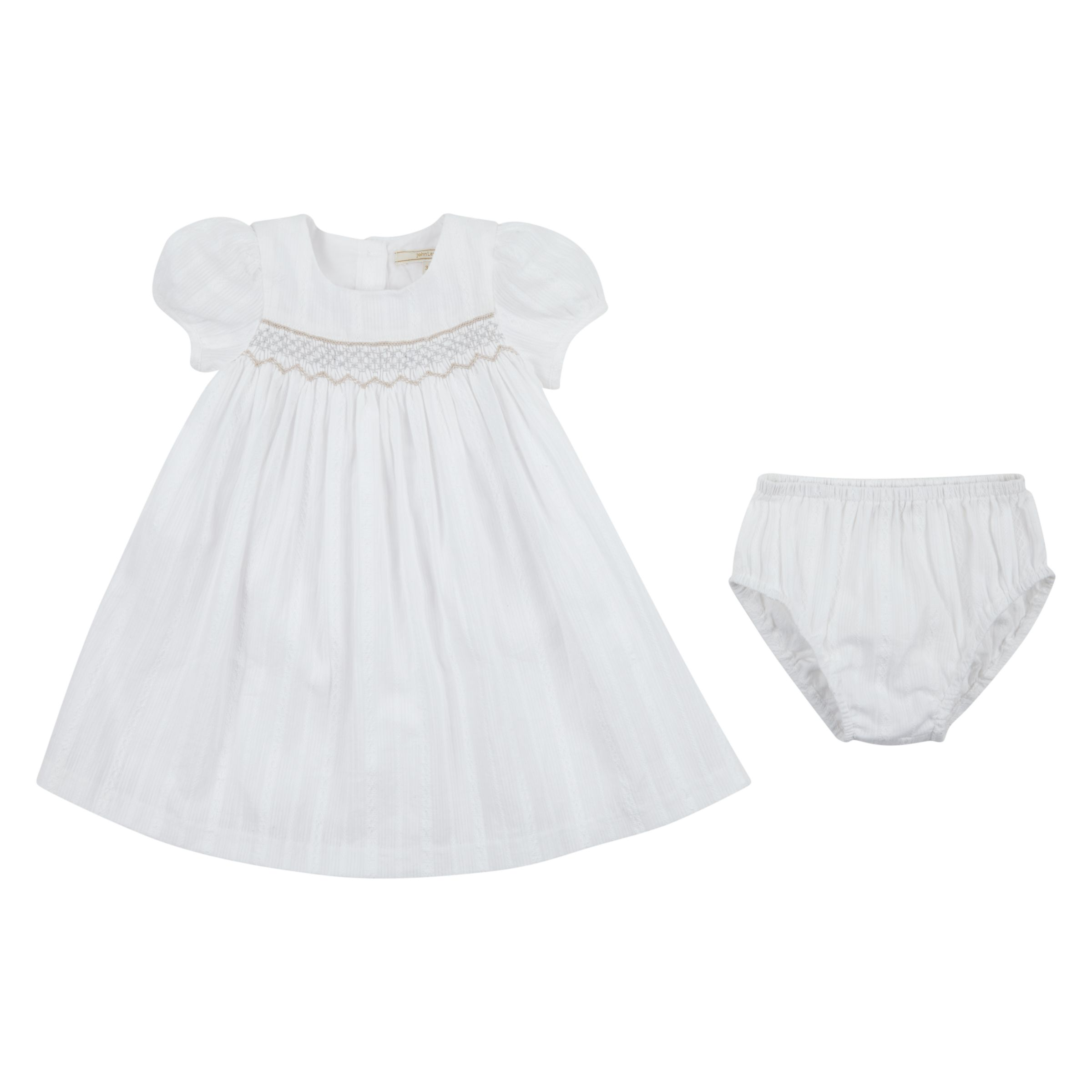 John Lewis Heirloom Collection John Lewis Heirloom Collection Baby Woven Smock Dress and Knickers Set, White