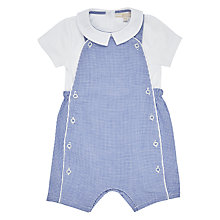 Buy John Lewis Heirloom Collection Baby Gingham Bibshort Set, Blue/White Online at johnlewis.com