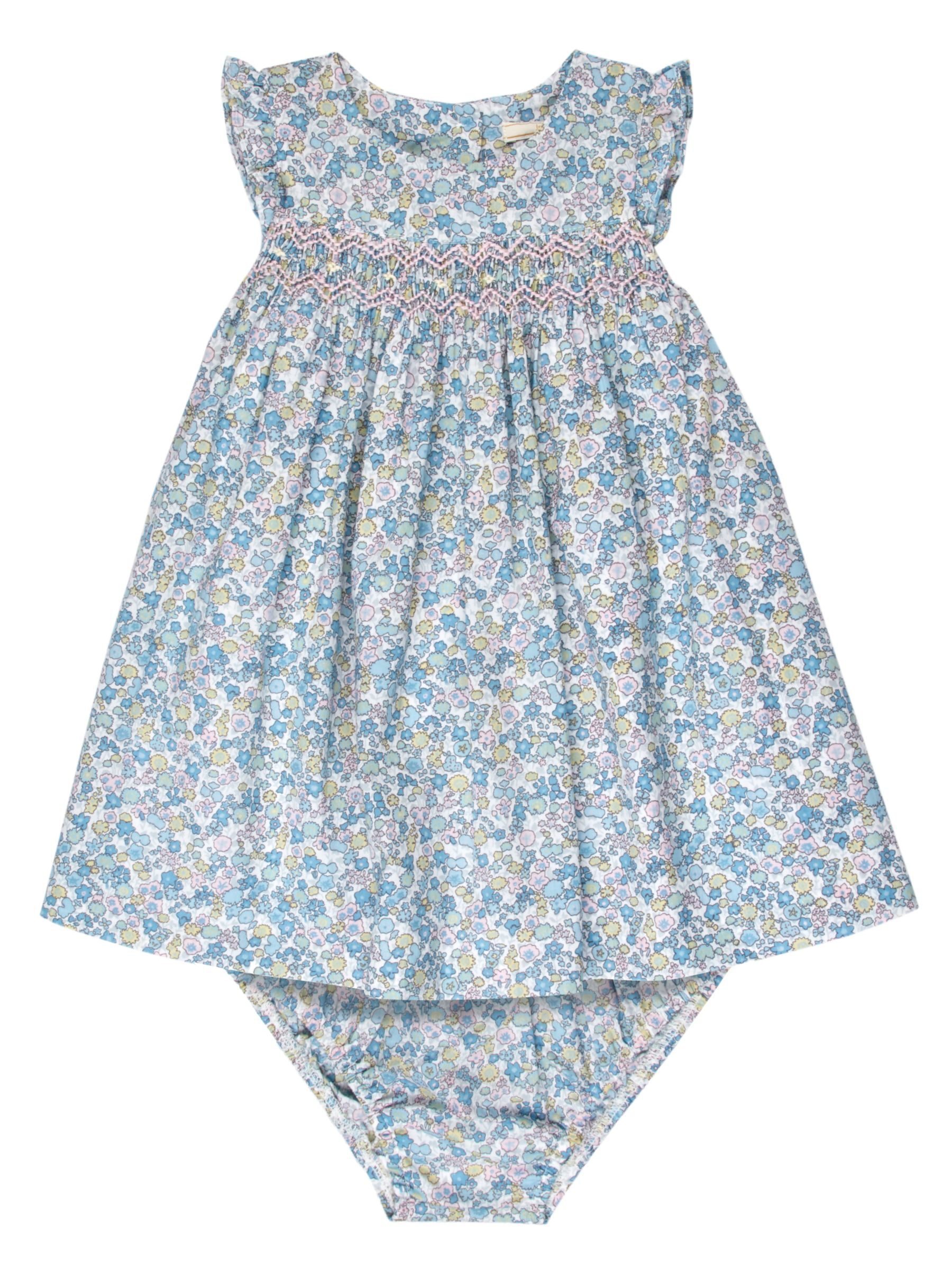 John Lewis Heirloom Collection John Lewis Heirloom Collection Baby Ditsy Smock Dress and Knickers Set, Blue/Multi