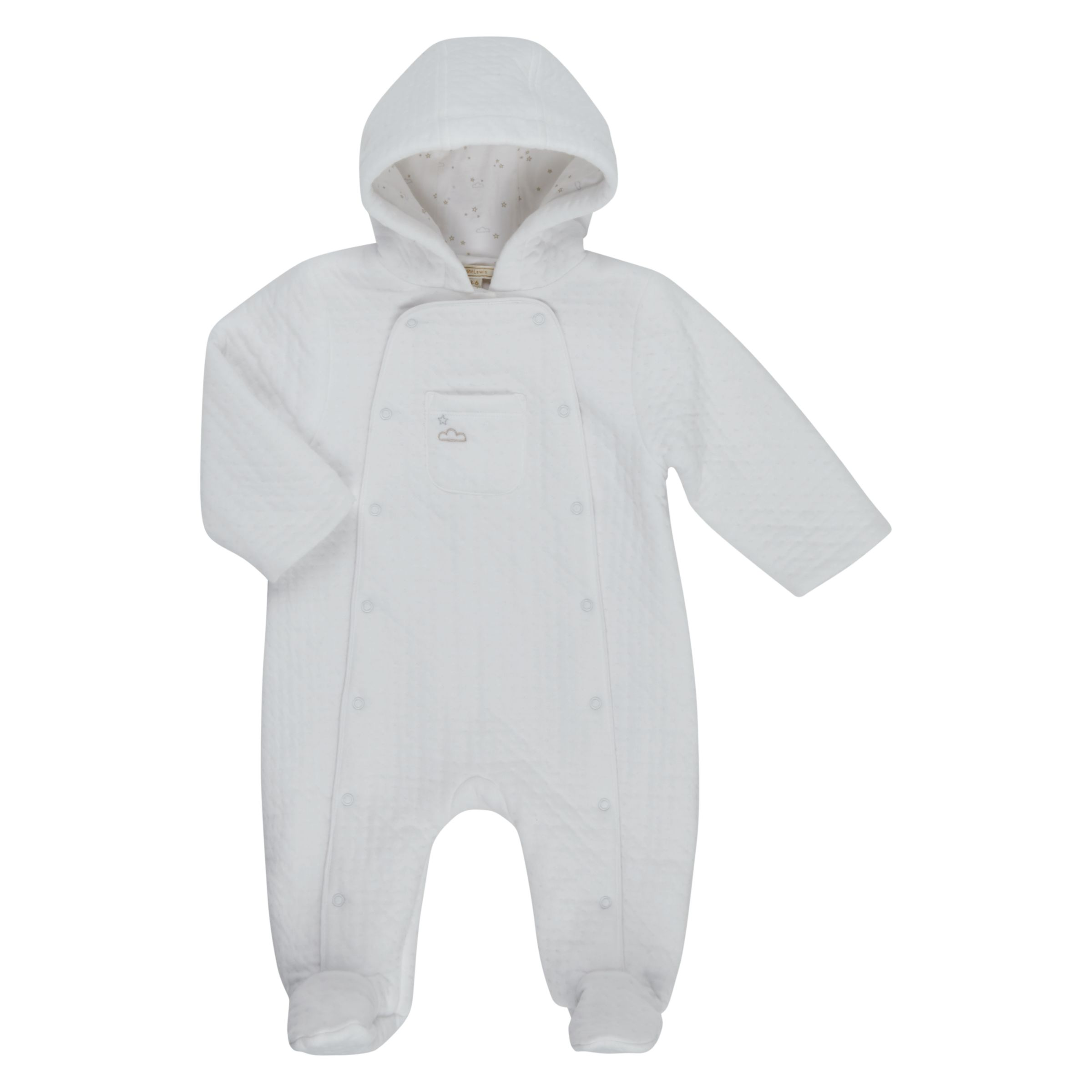 John Lewis Heirloom Collection John Lewis Heirloom Collection Baby Textured Hooded Pramsuit, White