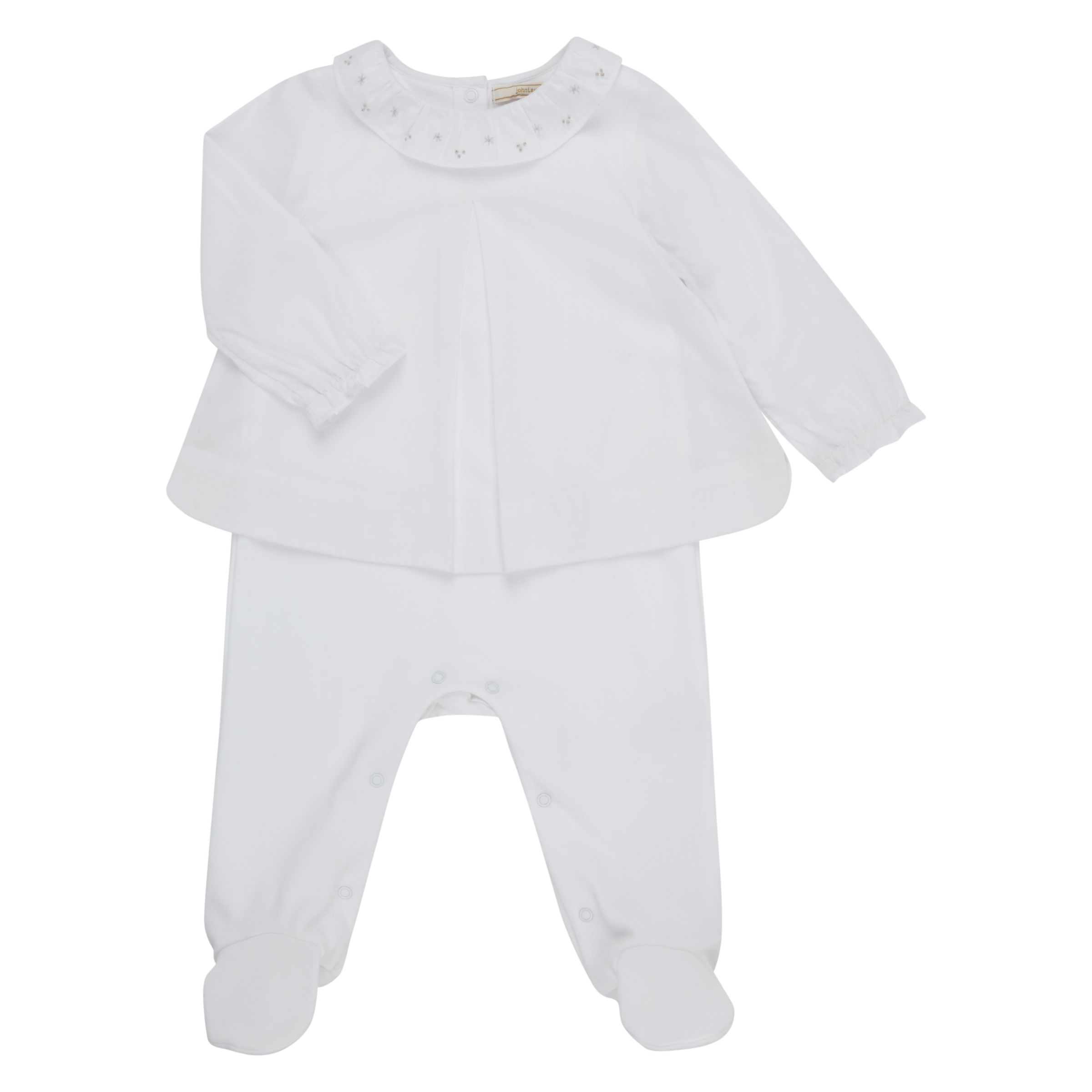 John Lewis Heirloom Collection John Lewis Heirloom Collection Baby Woven Blouse Sleepsuit, White