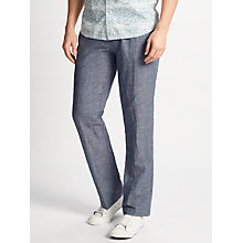 Buy John Lewis Mooring Semi Plain Linen Cotton Trousers, Blue Online at johnlewis.com