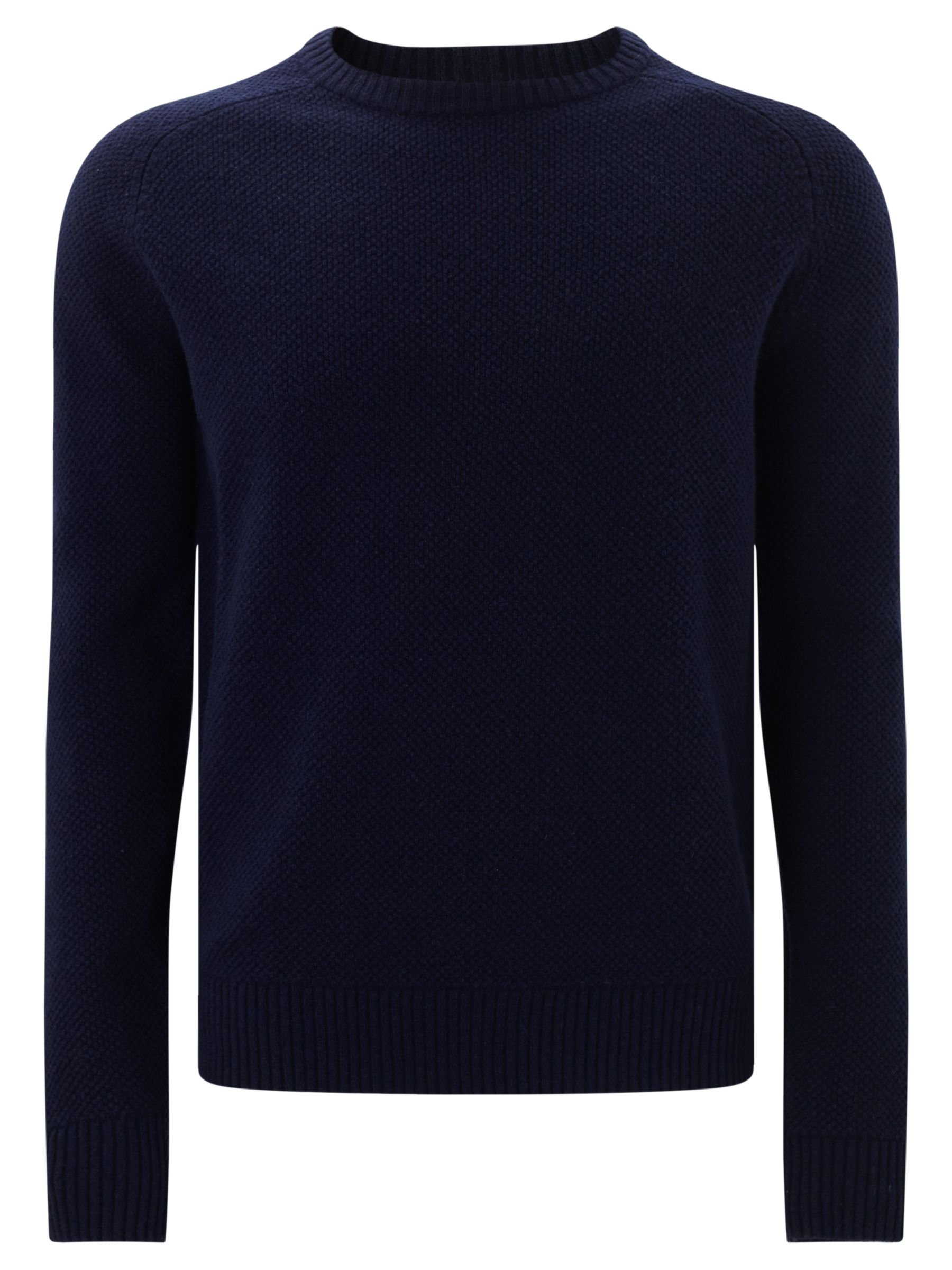 JOHN LEWIS & Co. JOHN LEWIS & Co. Tuck Stitch Lambswool Jumper, Navy