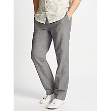 Buy John Lewis Mooring Puppytooth Linen Cotton Trousers, Grey Online at johnlewis.com