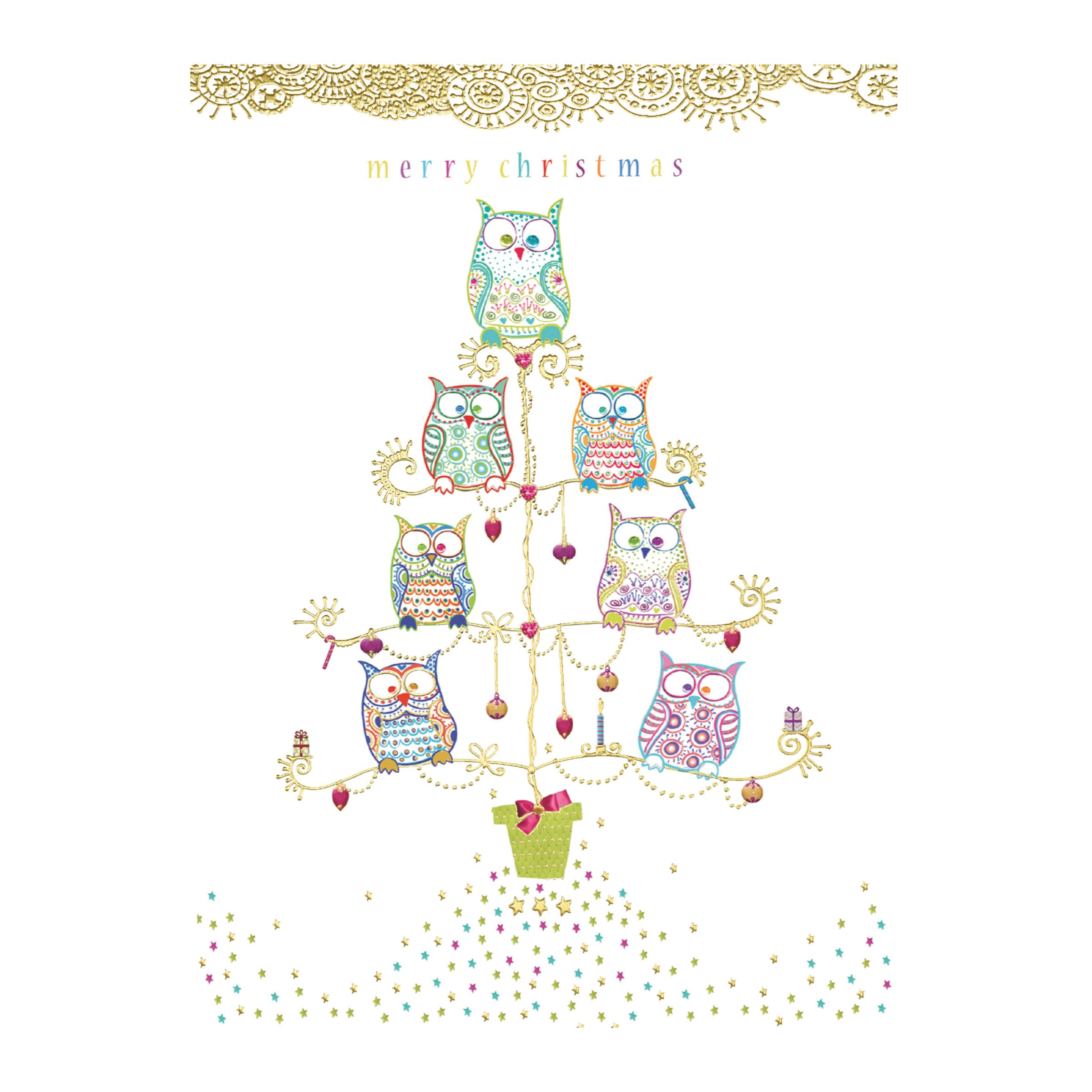 CCA CCA Personalised 'Tree Of Owls' Charity Christmas Cards
