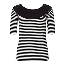 Buy Hobbs Bess Stripe Bardot Top, Navy/Ivory Online at johnlewis.com