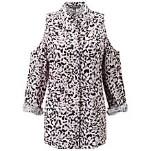 Buy Miss Selfridge Leopard Cold Shoulder Shirt, Multi Online at johnlewis.com