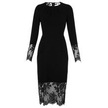 Buy Whistles Izzy Lace And Crepe Bodycon Dress, Black Online at johnlewis.com