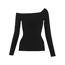 Buy Whistles Asymmetric One Shoulder Top, Black Online at johnlewis.com