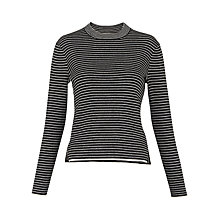 Buy Whistles Stripe Grown On Neck Knit, Black and White Online at johnlewis.com