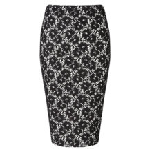 Buy Miss Selfridge Lace Overlay Pencil Skirt, Black Online at johnlewis.com