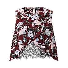 Buy Miss Selfridge Print Lace Insert Shell Top, Burgundy Online at johnlewis.com