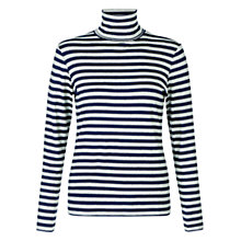 Buy Hobbs Mischa Roll Neck Stripe Top, Navy Online at johnlewis.com