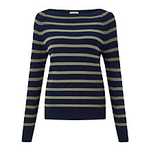 Buy Jigsaw Edie Stripe Cashmere Sweater, Muted Khaki Online at johnlewis.com