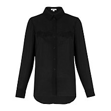 Buy Whistles Tiger Embroidered Shirt, Black Online at johnlewis.com