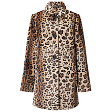 Buy Miss Selfridge Leopard Faux Fur Dolly Coat, Multi Online at johnlewis.com
