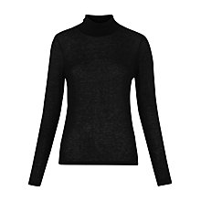 Buy Whistles Chiffon Insert Jersey Top, Black Online at johnlewis.com