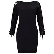 Buy Miss Selfridge Lace Up Jumper Dress, Black Online at johnlewis.com