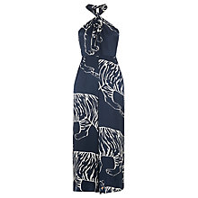 Buy Whistles Sophia Silk Tiger Knotted Jumpsuit, Blue/Multi Online at johnlewis.com