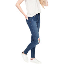 Buy Miss Selfridge Lizzie Busted Knee Jeans, Mid Wash Denim Online at johnlewis.com