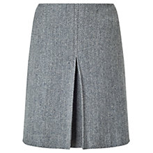 Buy Jigsaw Herringbone Pleat Front Skirt, Navy Online at johnlewis.com