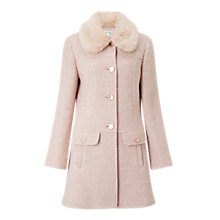 Buy Miss Selfridge Faux Fur Collar Coat, Powder Blush Online at johnlewis.com
