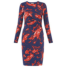 Buy Whistles Brushed Floral Dress, Red/Multi Online at johnlewis.com