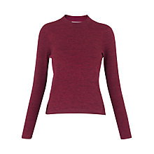 Buy Whistles Stripe Grown On Neck Knit, Raspberry Online at johnlewis.com