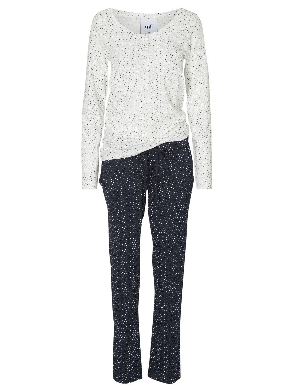 Mamalicious Mamalicious Chill Lia Long Sleeve Maternity Nursing Pyjamas, Navy/White
