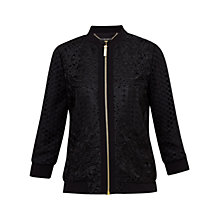 Buy Ted Baker Hillan Lace Bomber Jacket, Black Online at johnlewis.com