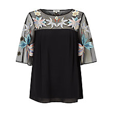Buy Somerset by Alice Temperley Lily Embroidered Top, Black Online at johnlewis.com