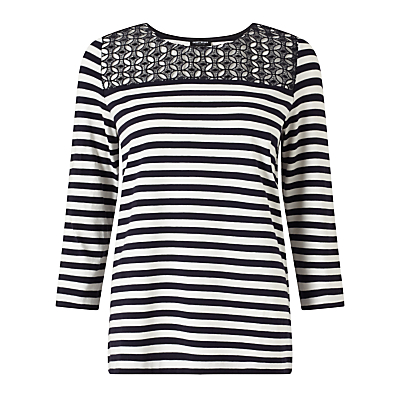 Gerry Weber Lace Detail Stripe Jersey Top, Navy/White